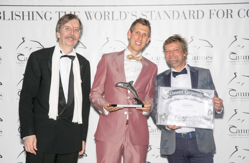 Alexander V. Kammel, Roeland Scholtalbers and Peter Bostoen receive the Cannes Award (Photo © Filmservice International Blaise-Tassou)