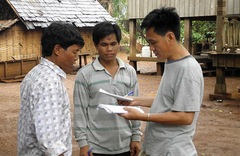 Fieldwork in Cambodian village
